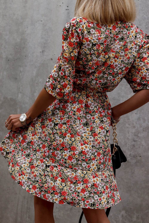 Kolorowa kwiatowa sukienka kopertowa V-Neck Aster 3