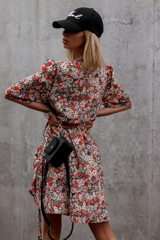 Kolorowa kwiatowa sukienka kopertowa V-Neck Aster 4