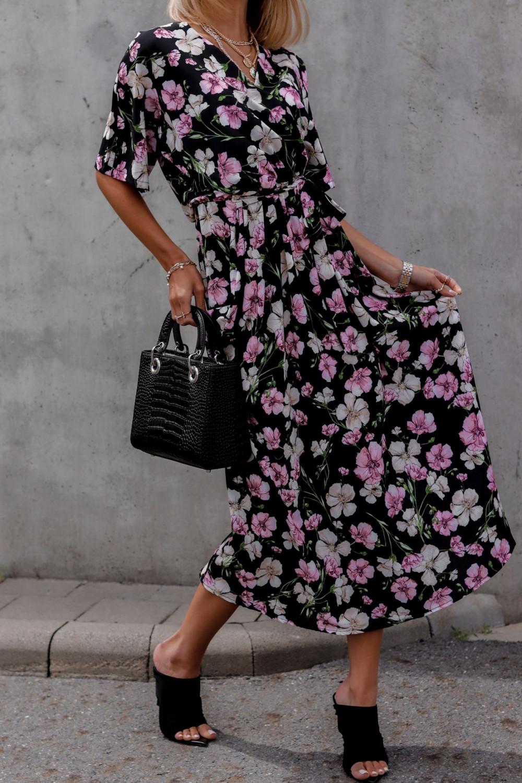 Czarna sukienka kwiatowa midi Martina 1