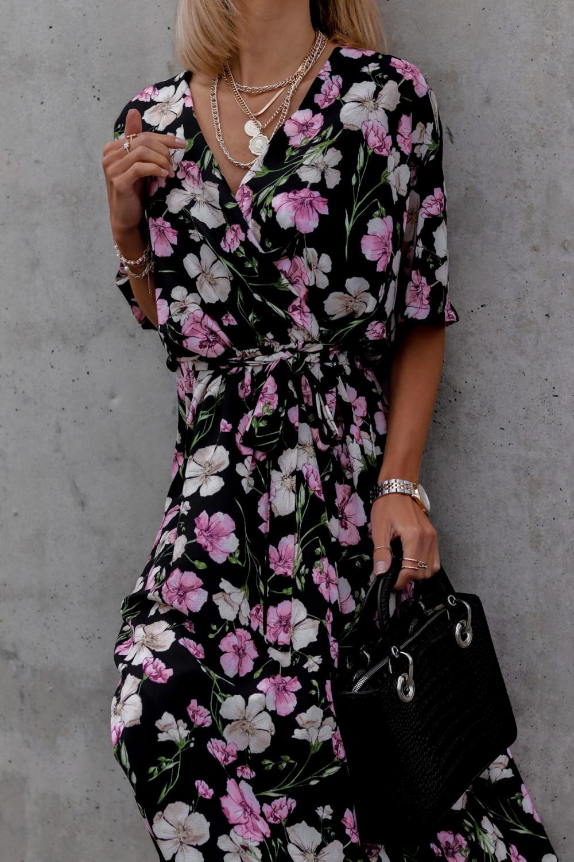 Czarna sukienka kwiatowa midi Martina 3