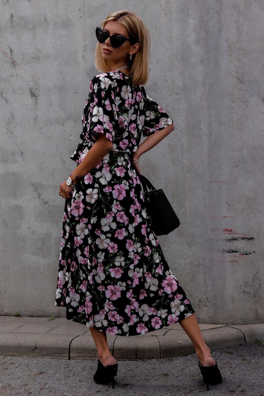 Czarna sukienka kwiatowa midi Martina 2