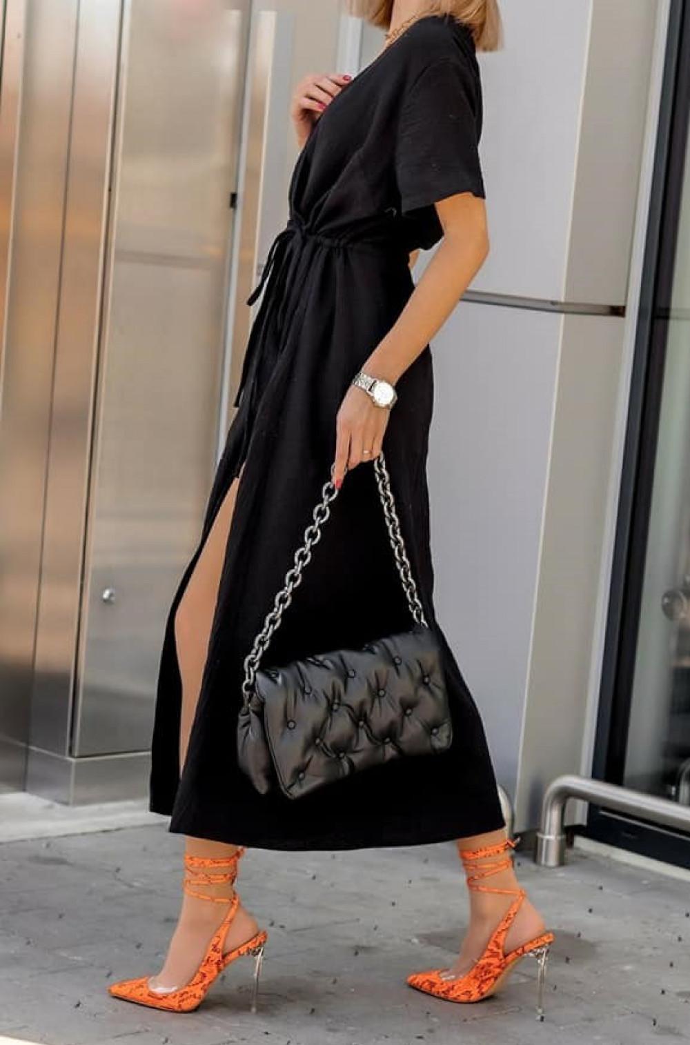 Czarna muślinowa sukienka przekładana maxi Gabrielle 1