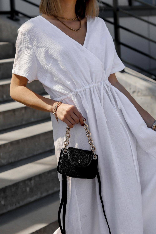 Biała muślinowa sukienka przekładana maxi Gabrielle 2