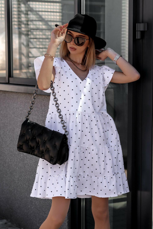 Biała rozkloszowana sukienka z falbankami V-Neck w groszki Lucille 1