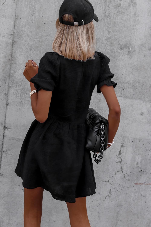 Czarna muślinowa sukienka rozkloszowana mini Shira 4
