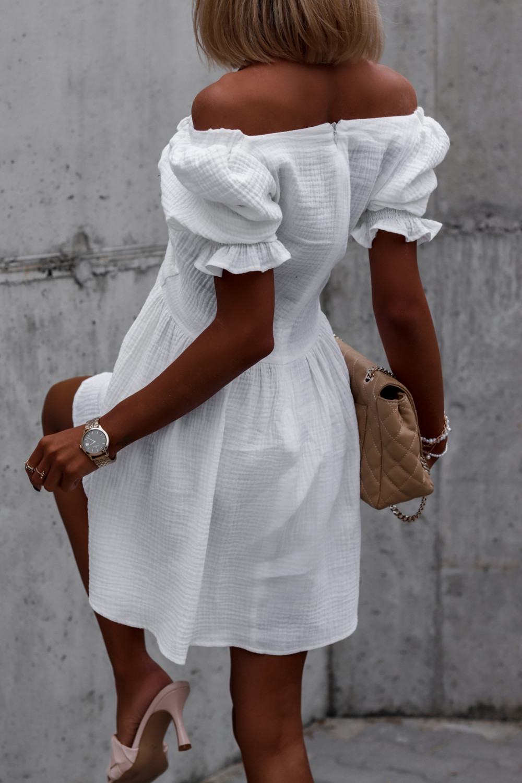 Biała muślinowa sukienka rozkloszowana mini Shira 5