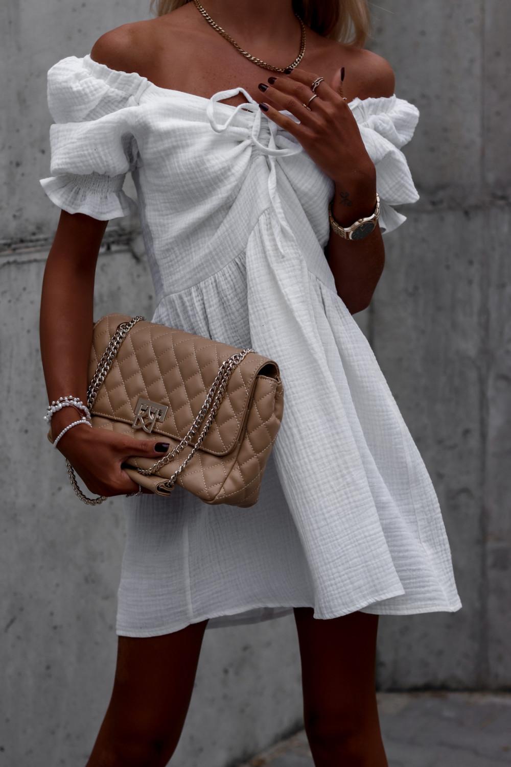 Biała muślinowa sukienka rozkloszowana mini Shira 3
