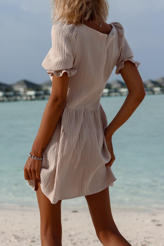 Beżowa muślinowa sukienka rozkloszowana mini Shira 5