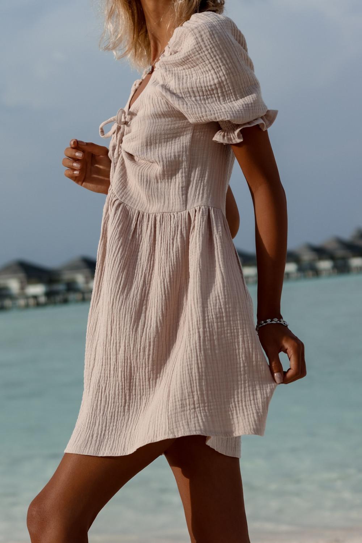 Beżowa muślinowa sukienka rozkloszowana mini Shira 4