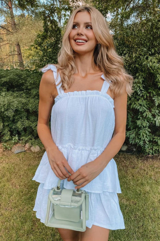 Biała luźna sukienka z falbankami boho Rose 3