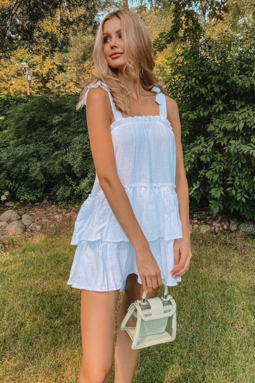 Biała luźna sukienka z falbankami boho Rose 4