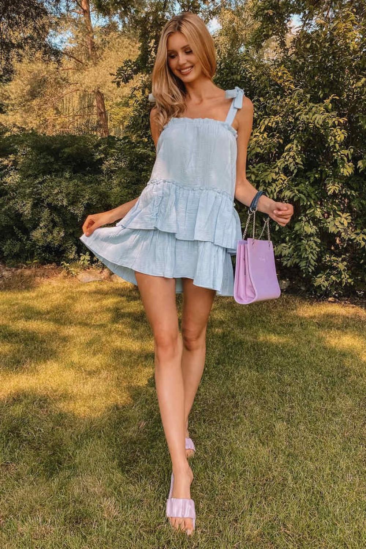 Jasnoniebieska luźna sukienka z falbankami boho Rose 2