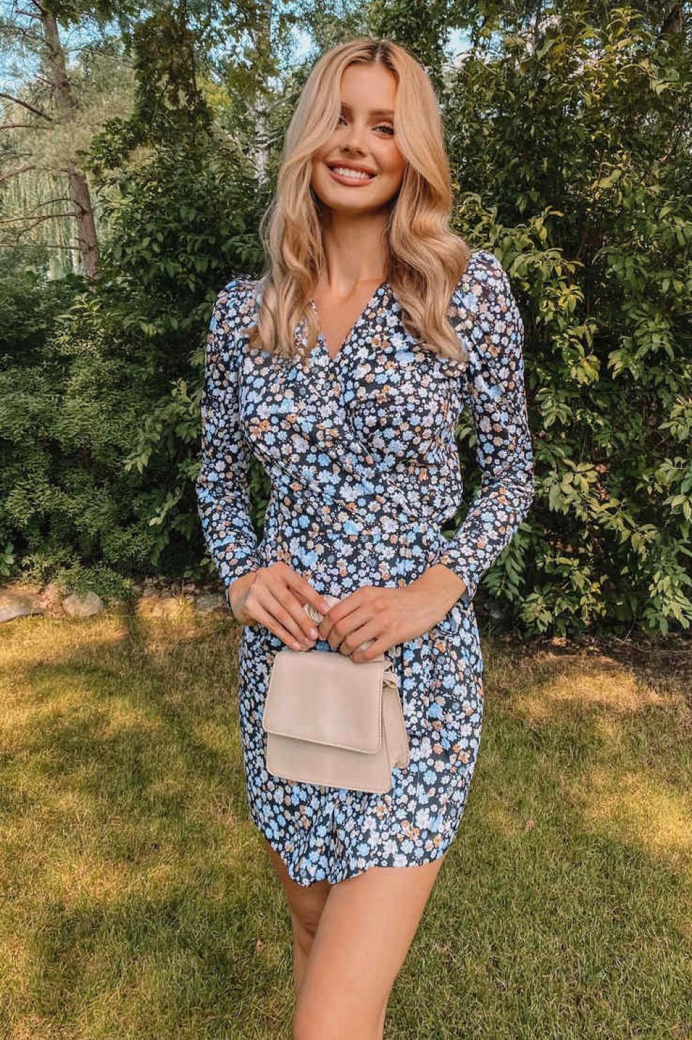 Czarno-niebieska sukienka kwiatowa kopertowa V-Neck Maribel 2