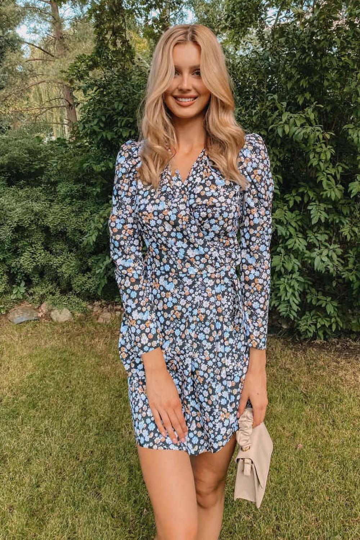 Czarno-niebieska sukienka kwiatowa kopertowa V-Neck Maribel 1