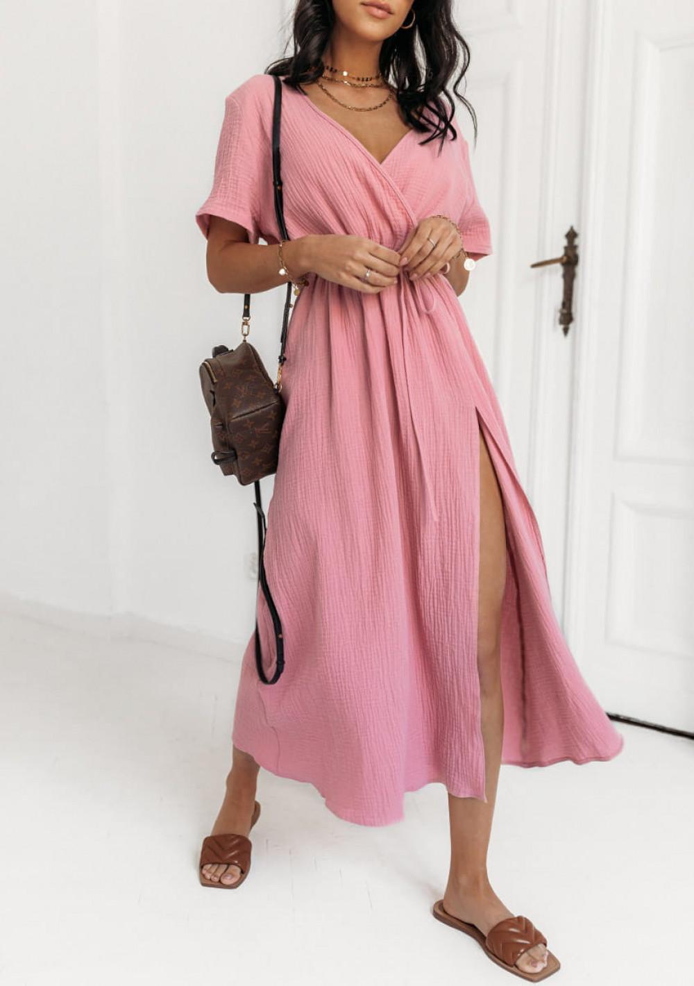 Różowa muślinowa sukienka przekładana maxi Gabrielle 1