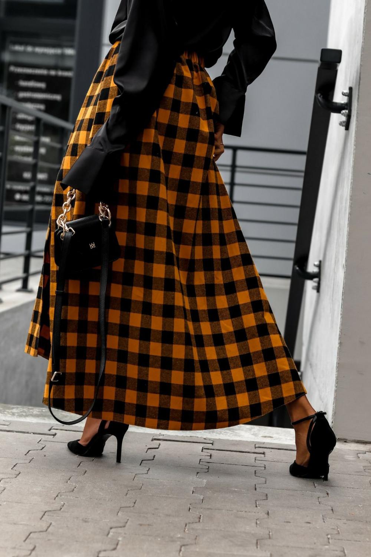 Pomarańczowa spódnica flanel z rozcięciem midi w kratkę Sammy 5