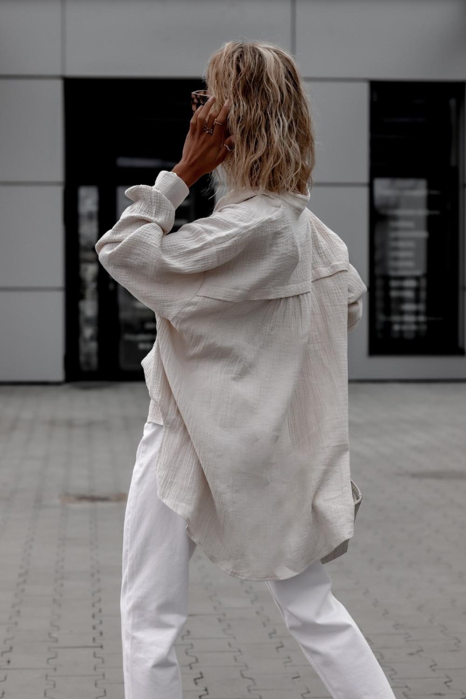 Beżowa muślinowa koszula oversize V-Neck Zoe 5