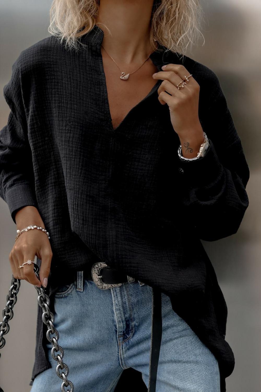 Czarna muślinowa koszula oversize V-Neck Zoe 1