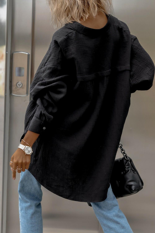 Czarna muślinowa koszula oversize V-Neck Zoe 3