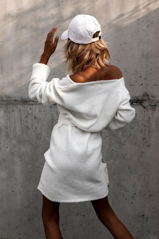 Biała przekładana sukienka sweterek V-Neck Mila 4