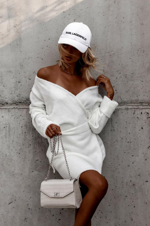 Biała przekładana sukienka sweterek V-Neck Mila 2