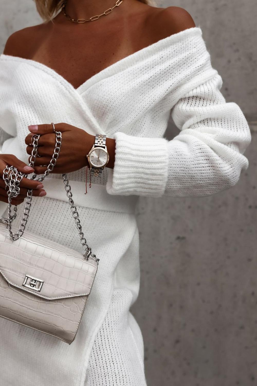 Biała przekładana sukienka sweterek V-Neck Mila 3