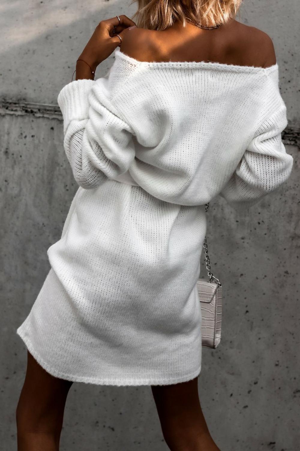 Biała przekładana sukienka sweterek V-Neck Mila 5