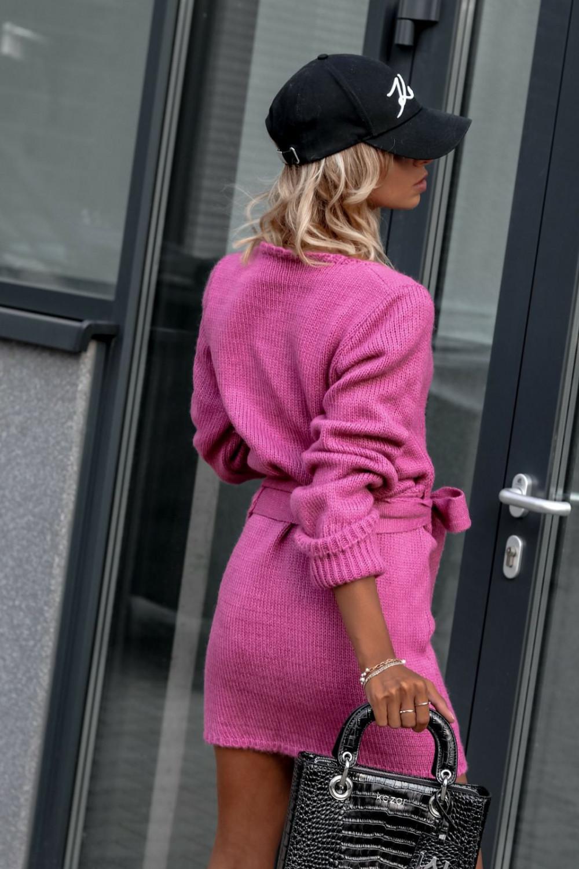 Fuksjowa przekładana sukienka sweterek V-Neck Mila 3