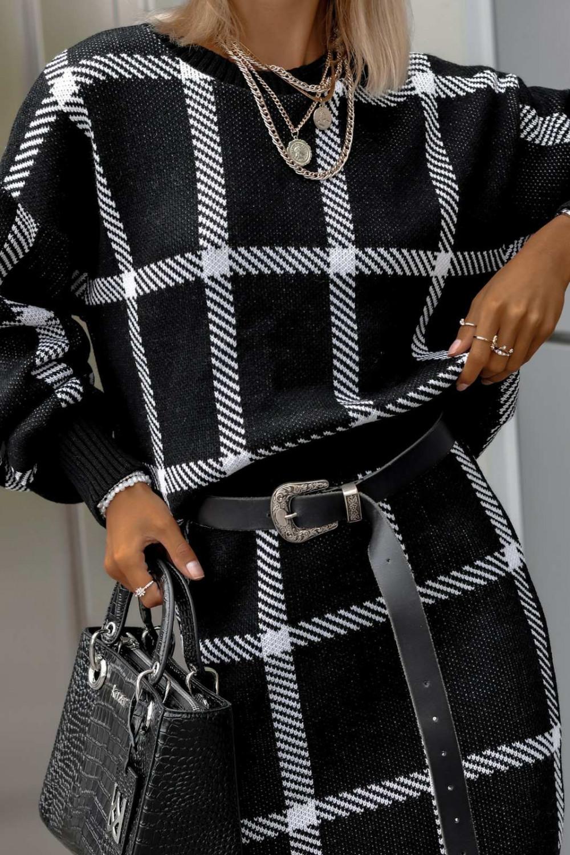 Czarny komplet damski w kratkę spódniczka i bluza Elena 3