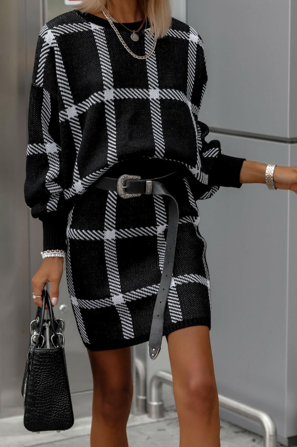 Czarny komplet damski w kratkę spódniczka i bluza Elena 1