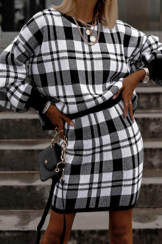 Biało-czarny komplet damski w kratkę spódniczka i bluza Elena 1