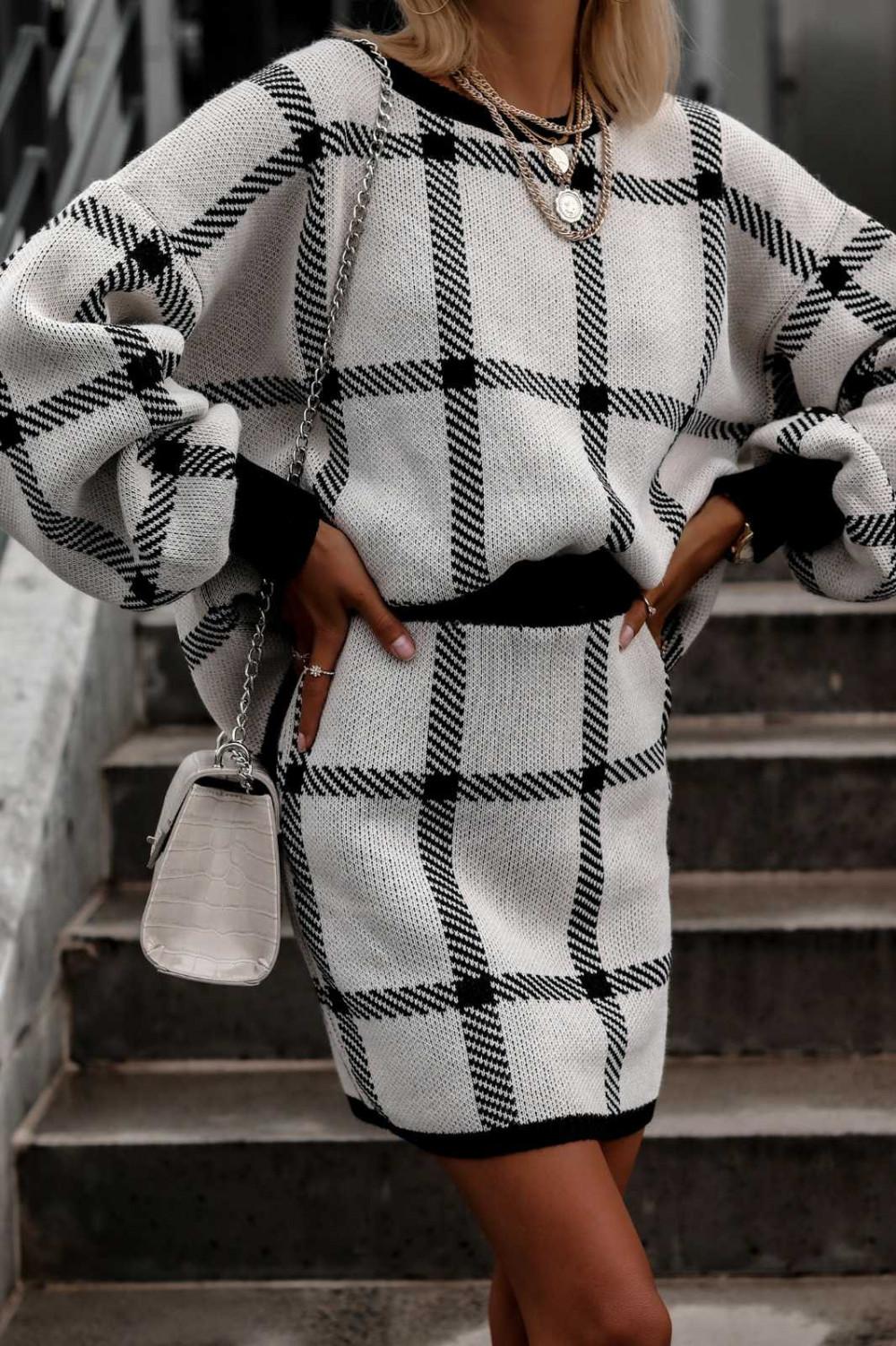 Szary komplet damski w kratkę spódniczka i bluza Elena 1