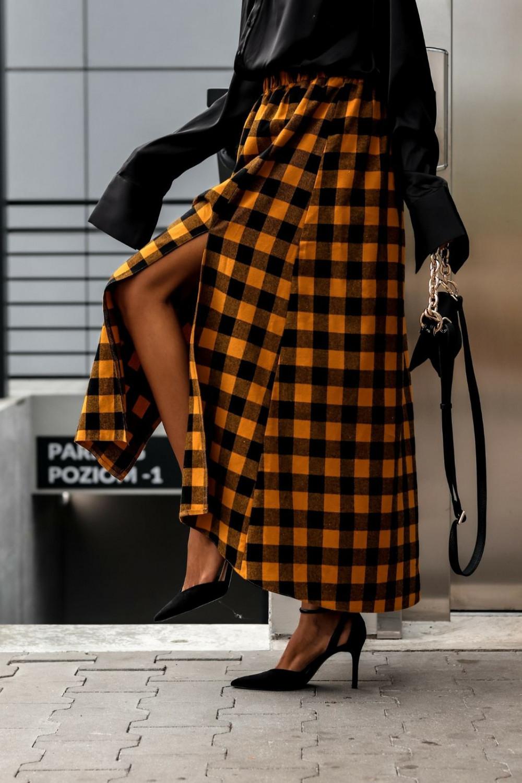 Pomarańczowa spódnica flanel z rozcięciem midi w kratkę Sammy 8
