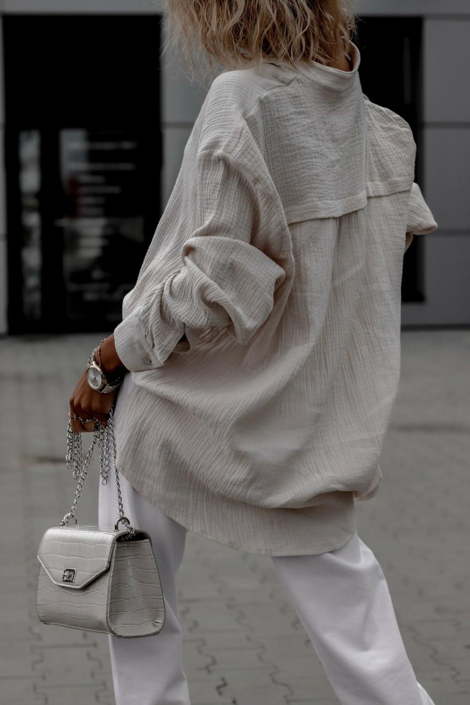 Beżowa muślinowa koszula oversize V-Neck Zoe 6