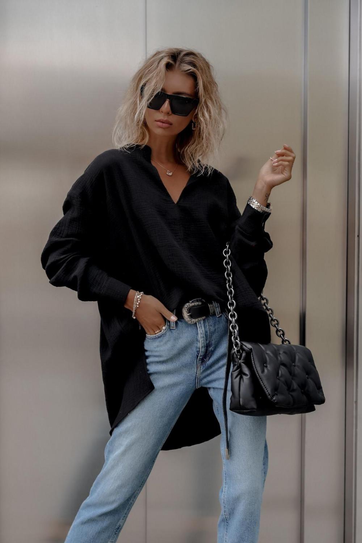 Czarna muślinowa koszula oversize V-Neck Zoe 2
