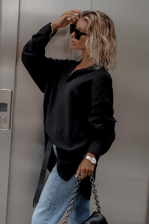 Czarna muślinowa koszula oversize V-Neck Zoe 4