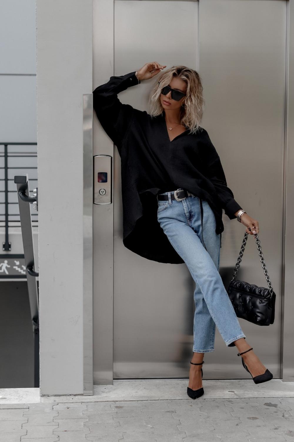 Czarna muślinowa koszula oversize V-Neck Zoe 5