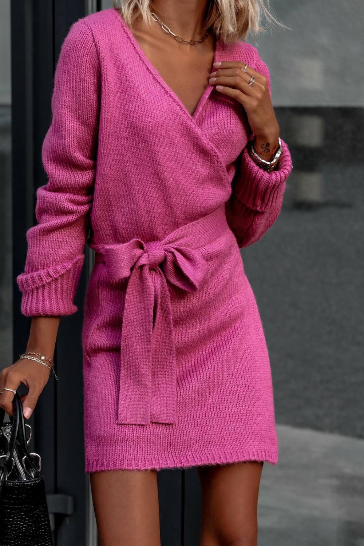 Fuksjowa przekładana sukienka sweterek V-Neck Mila 4