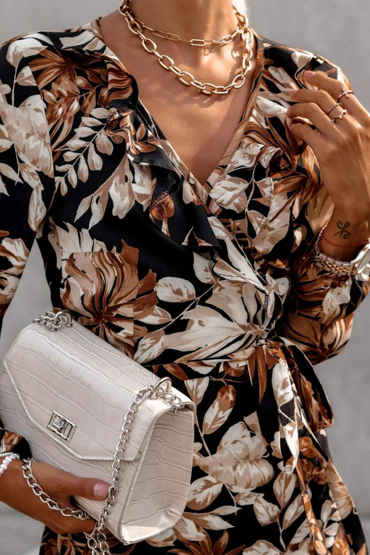 Brązowa kwiatowa sukienka kopertowa V-Neck Ellie 4