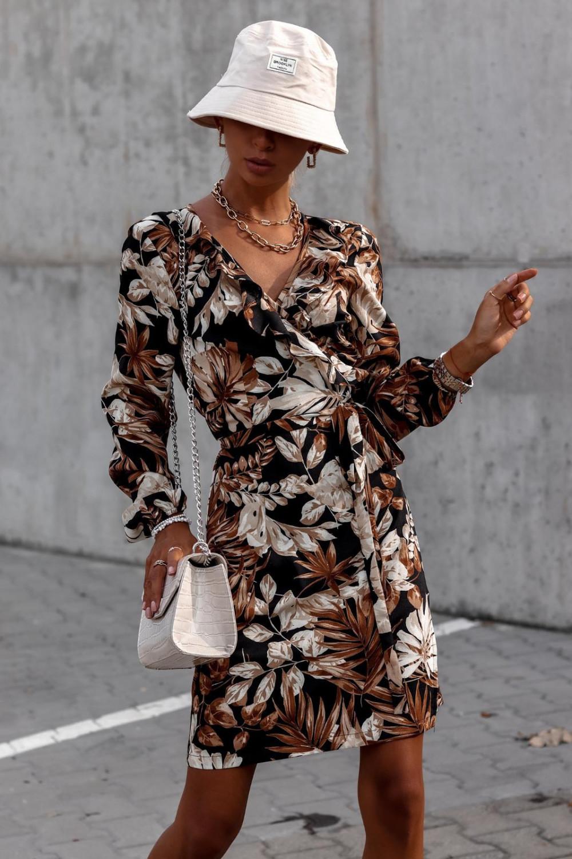 Brązowa kwiatowa sukienka kopertowa V-Neck Ellie 3