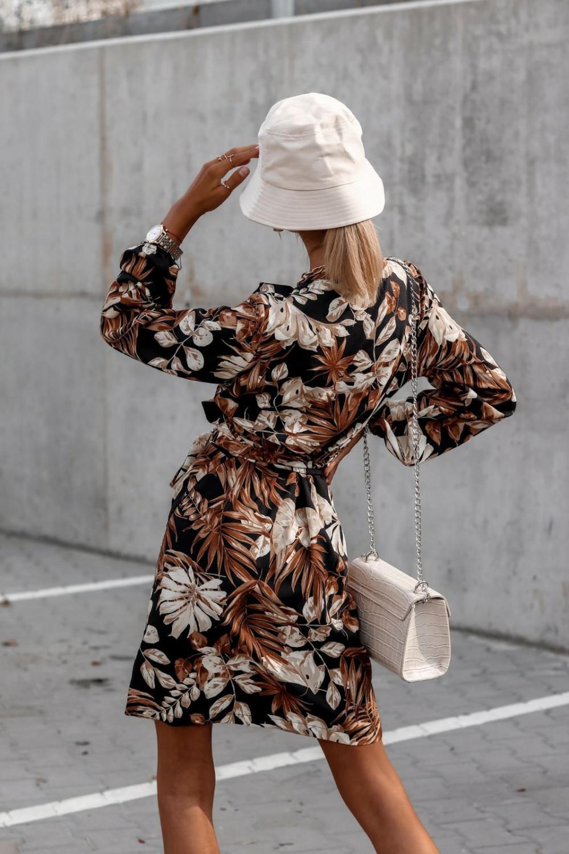 Brązowa kwiatowa sukienka kopertowa V-Neck Ellie 5