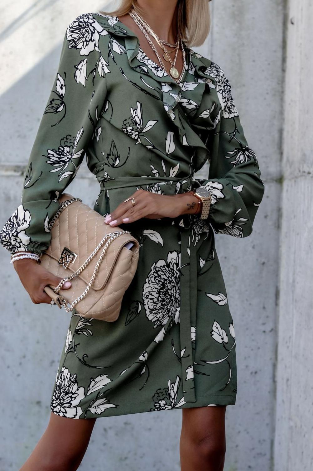 Zielona kwiatowa sukienka kopertowa V-Neck Ellie 2