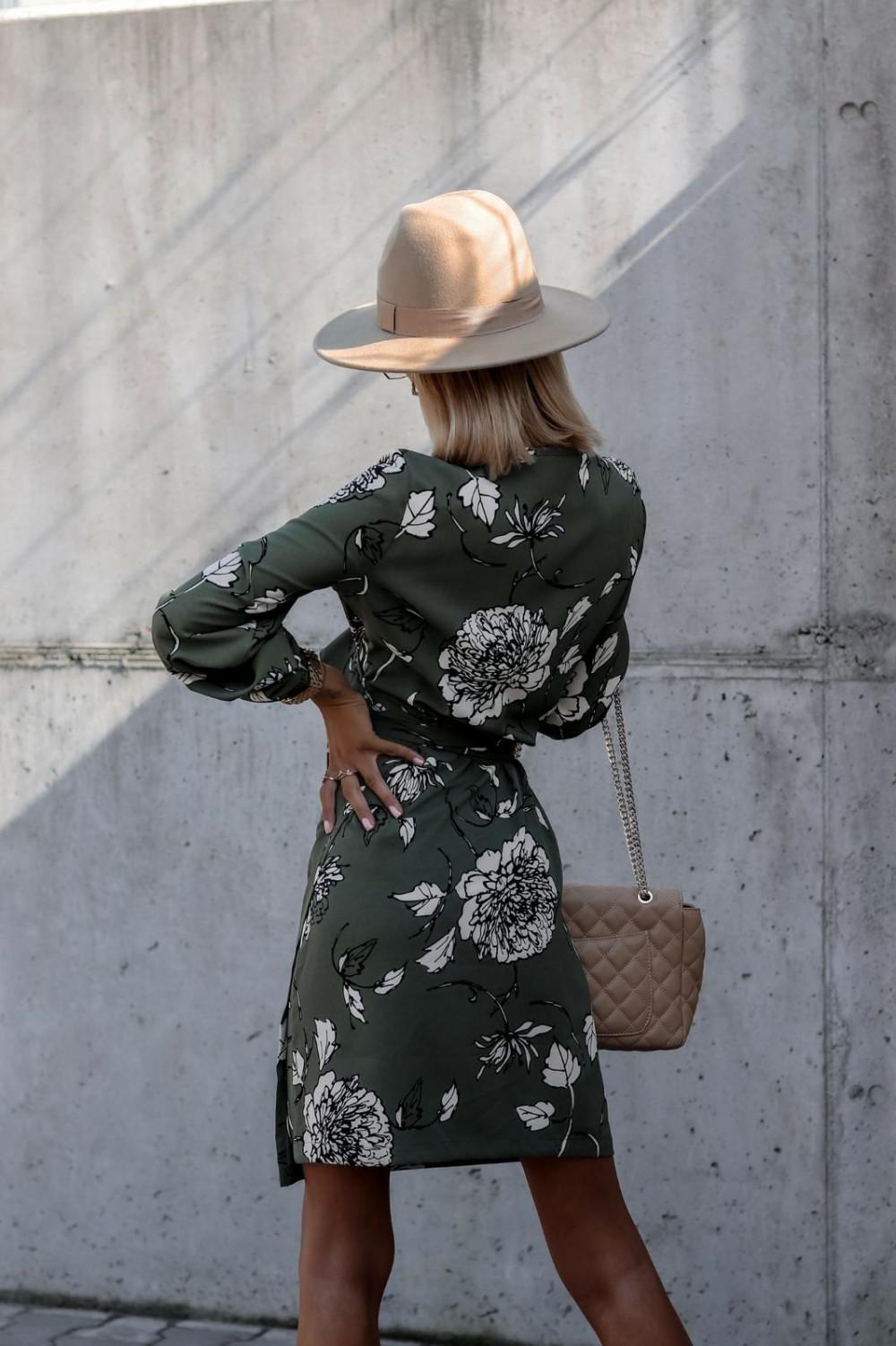 Zielona kwiatowa sukienka kopertowa V-Neck Ellie 4
