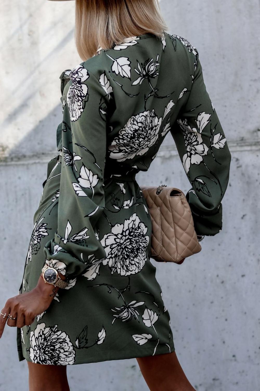 Zielona kwiatowa sukienka kopertowa V-Neck Ellie 5