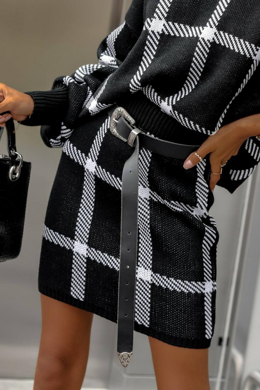 Czarny komplet damski w kratkę spódniczka i bluza Elena 5