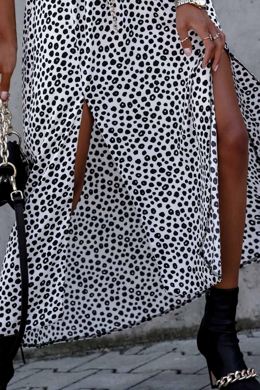 Biała spódnica z rozcięciem midi w plamki Sammy 2