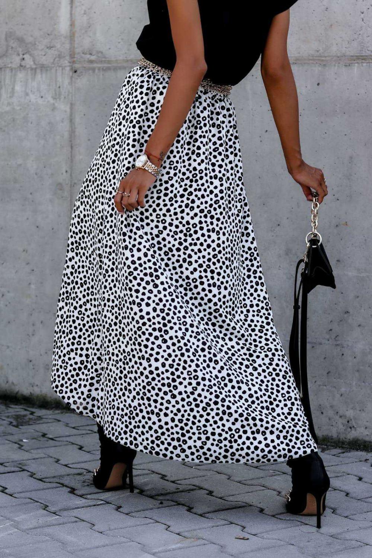 Biała spódnica z rozcięciem midi w plamki Sammy 5