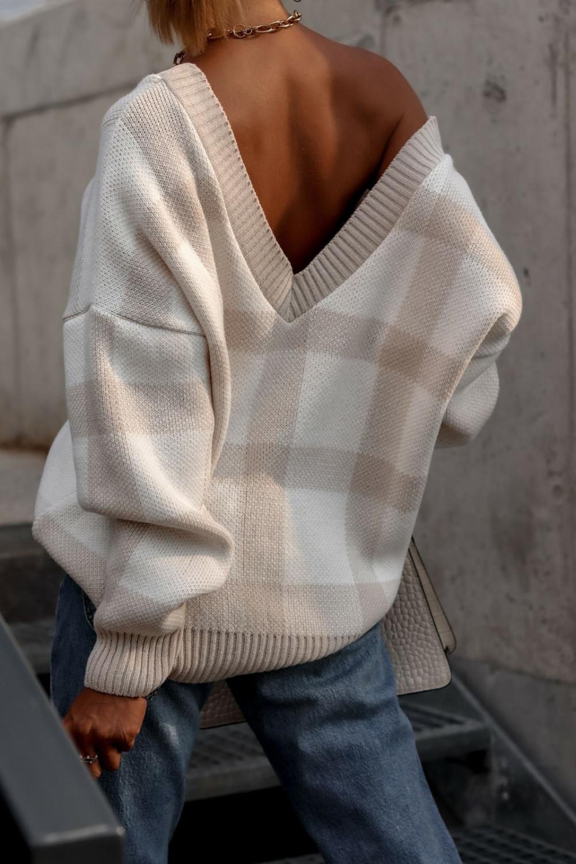 Beżowy sweter oversize V-Neck w kratkę Maya 1