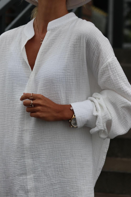 Biała muślinowa koszula oversize V-Neck Zoe 4