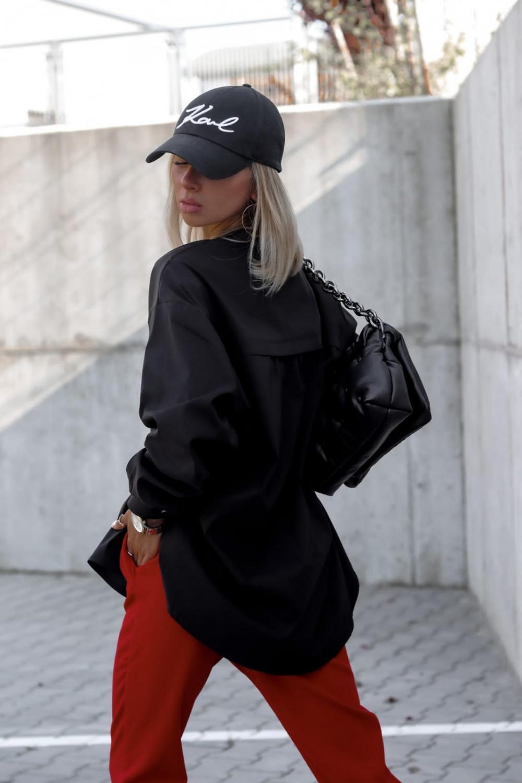 Czarna długa koszula oversize V-Neck Aria 3